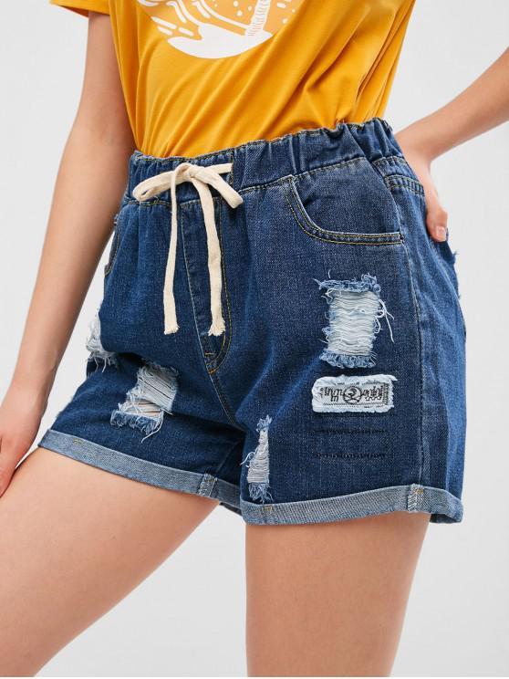 women's Ripped Drawstring Cuffed Denim Shorts - DENIM DARK BLUE M