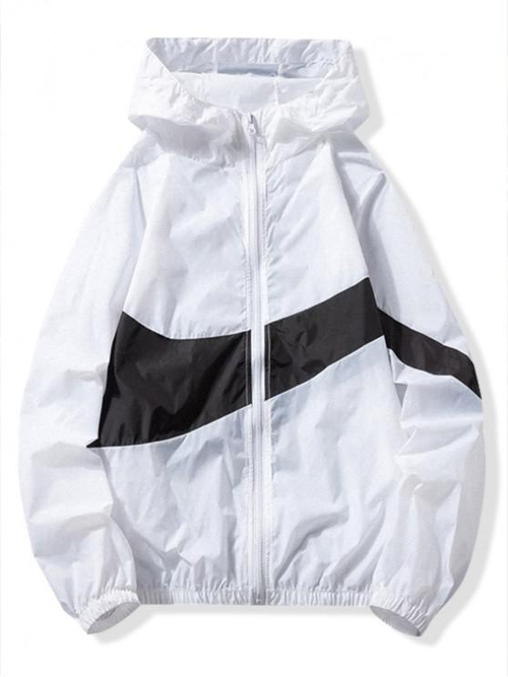 fashion Sun Protection Color Block Panel Hooded Jacket - WHITE L