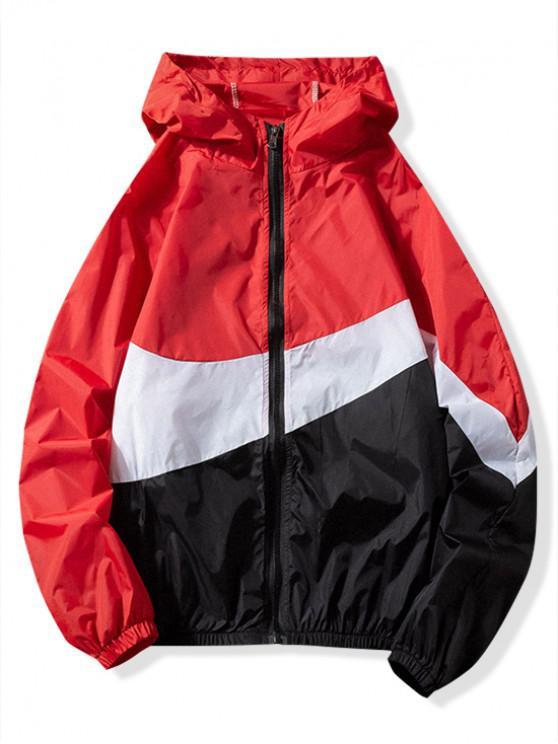 Chaqueta con capucha del panel del bloque del color de la protección del sol - Rojo M
