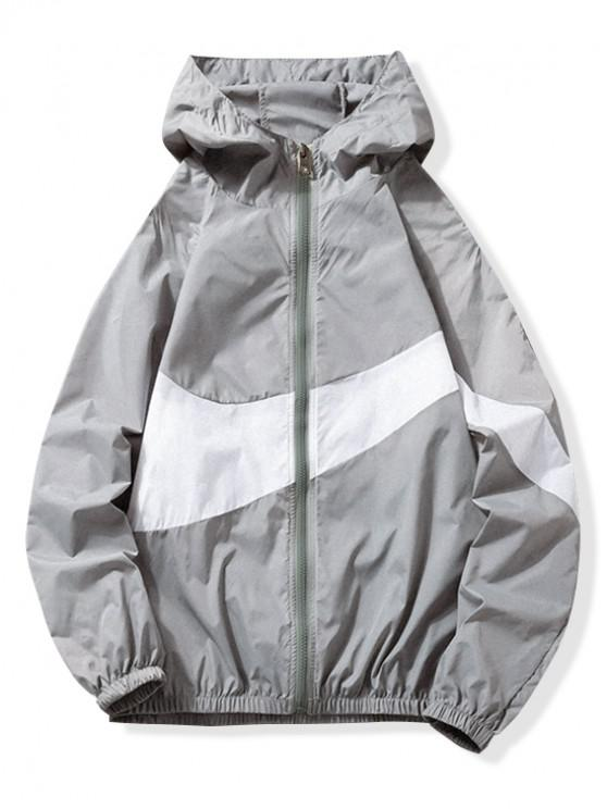 ladies Sun Protection Color Block Panel Hooded Jacket - GRAY L