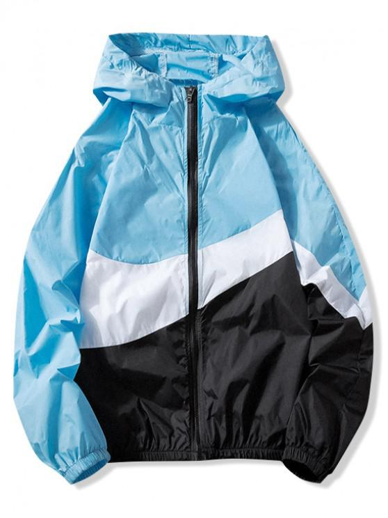 shop Sun Protection Color Block Panel Hooded Jacket - DAY SKY BLUE 3XL