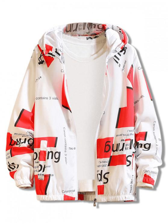 trendy Letter Geometric Print Antisun Hooded Jacket - RED M