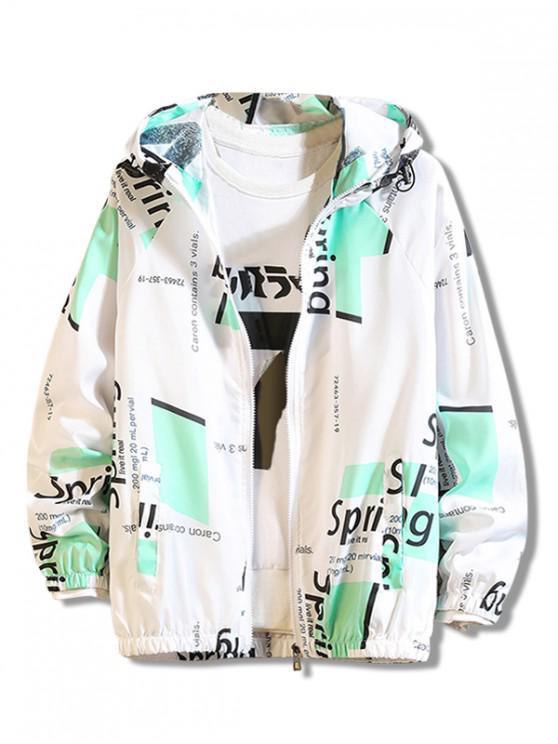 fancy Letter Geometric Print Antisun Hooded Jacket - GREEN XS