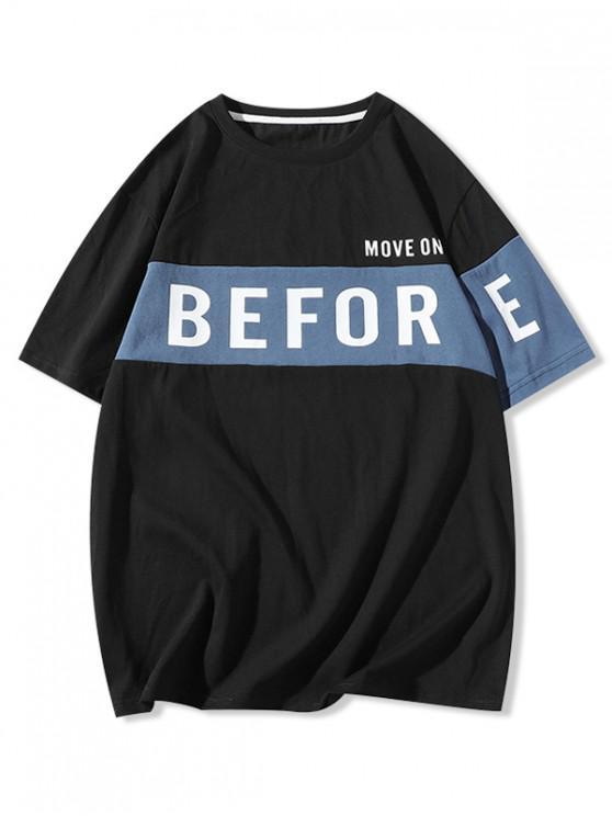 latest Letter Print Drop Shoulder Panel T-shirt - BLACK XL