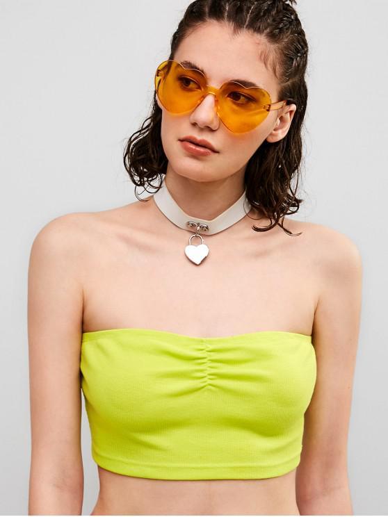 women ZAFUL Neon Ribbed Bandeau Crop Top - PISTACHIO GREEN L