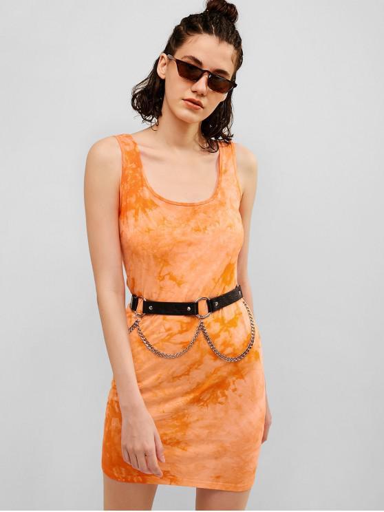 best U Neck Tie Dye Tank Mini Dress - DARK ORANGE S