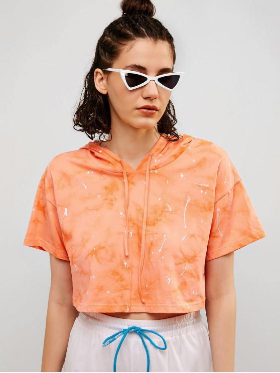 hot ZAFUL Printed Tie Dye Crop Hoodie - ORANGE S