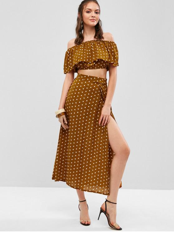 buy Polka Dot Separate Tops and Maxi Skirt Set - LIGHT BROWN S