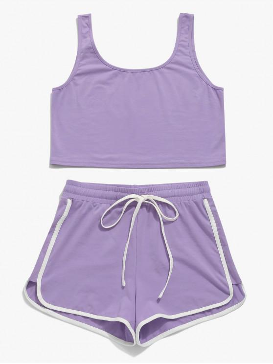 fancy ZAFUL Drawstring Ringer Shorts Set - MEDIUM PURPLE L