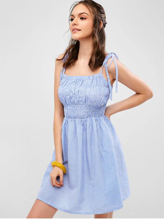 best ZAFUL Smocked Gingham Tie Straps Dress - CORNFLOWER BLUE M