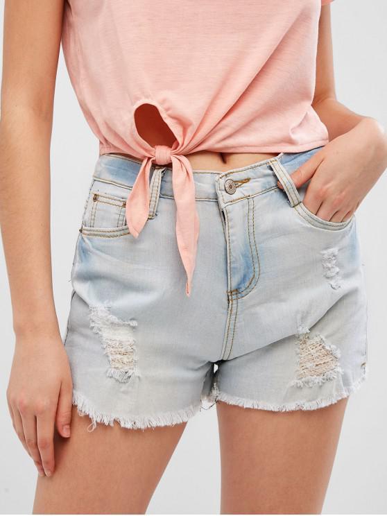 women Ripped Faded Cuff Off Shorts - DENIM BLUE 2XL