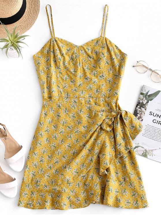 shops ZAFUL Ruffle Overlay Floral Cami Sundress - GOLDENROD L