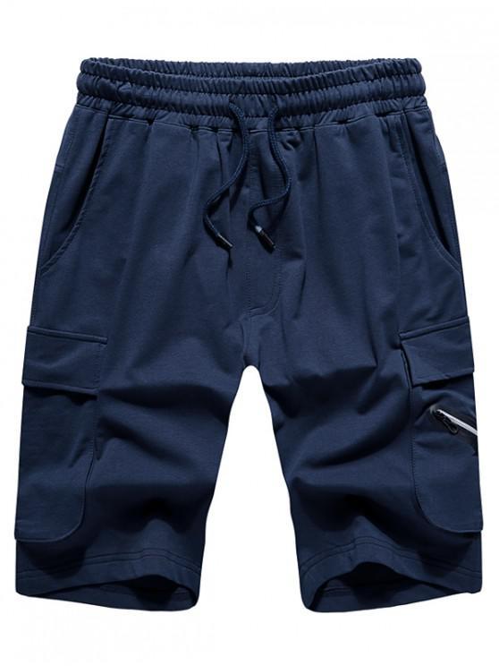 lady Elastic Drawstring Solid Color Shorts - CADETBLUE XL