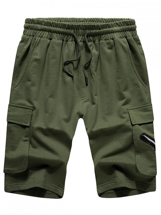 hot Elastic Drawstring Solid Color Shorts - ARMY GREEN L