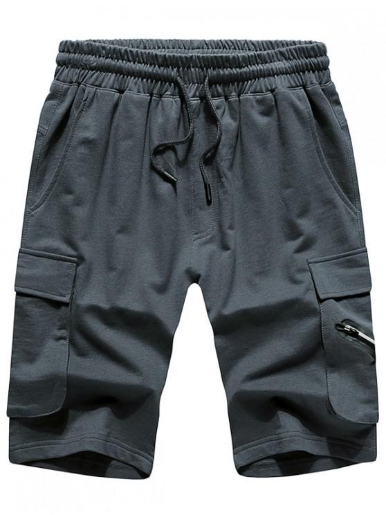 Однотонные шорты с эластичным шнурком - Серый S