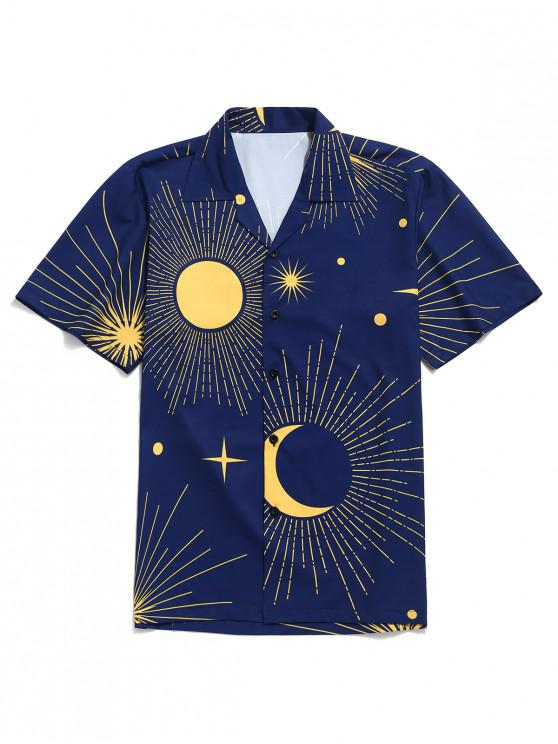 hot Sparkly Sun and Moon Print Short Sleeves Shirt - NAVY BLUE L
