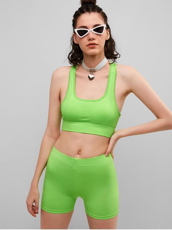womens Racerback Neon Gym Bra and Biker Shorts Set - PISTACHIO GREEN L