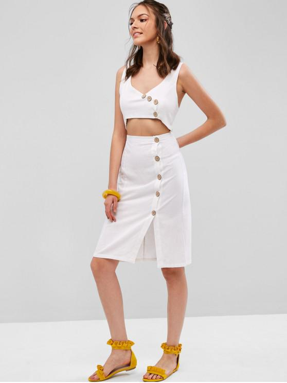 latest Smocked Button Up Cut Out Sleeveless Dress - WHITE L