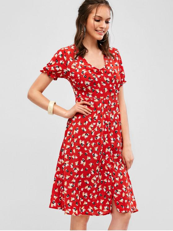 affordable Button Up Floral Midi A Line Dress - RED S