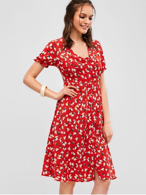 shops Button Up Floral Midi A Line Dress - RED M