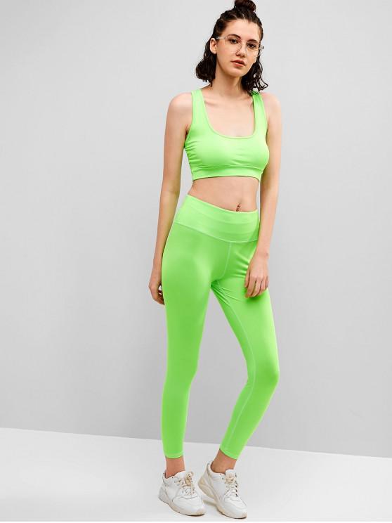 womens Racerback Neon Yoga Bra and Leggings Set - PISTACHIO GREEN M