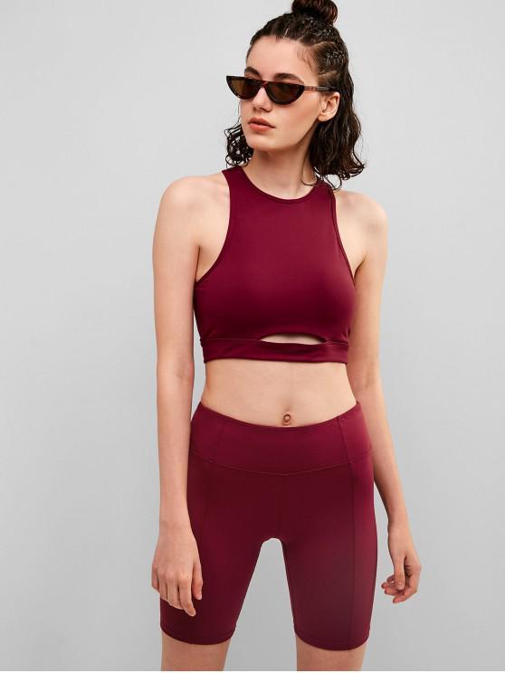 sale ZAFUL Padded Cutout Skinny Shorts Set - RED WINE L