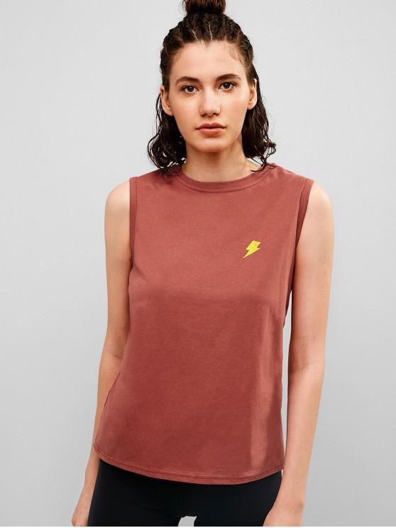 women Lightning Embroidered Casual Tank Top - CHESTNUT RED M
