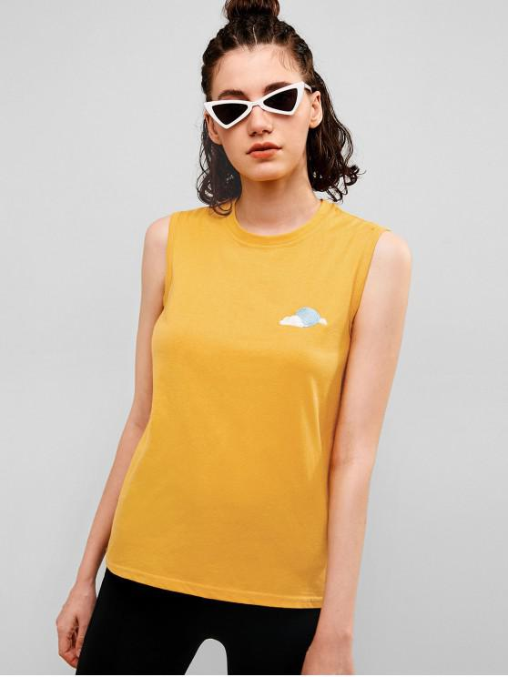 lady Embroidered Casual Cotton Tank Top - BEE YELLOW M