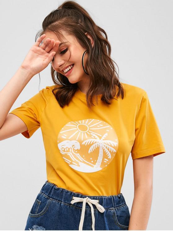 lady ZAFUL Sunshine Palm Tree Graphic Tee - BEE YELLOW S