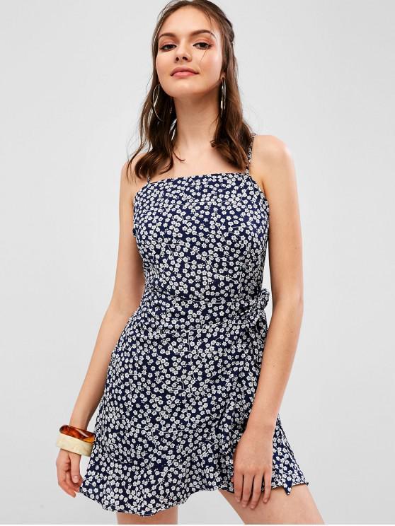 Camicia con sovrapposizione floreale - Profondo blu M