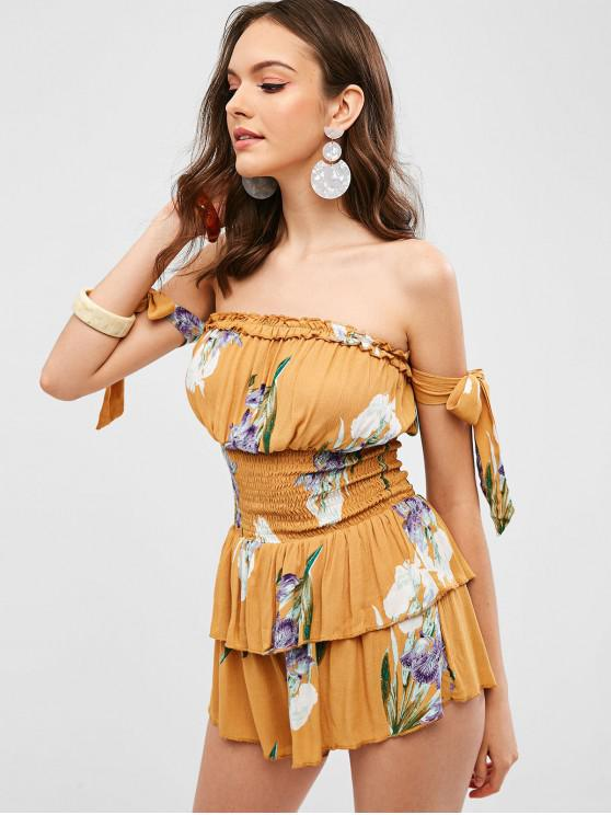 affordable Tie Shirred Floral Off The Shoulder Romper - GOLDENROD S