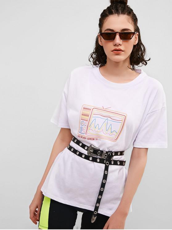 chic TV Graphic Boyfriend Tunic Tee - WHITE S
