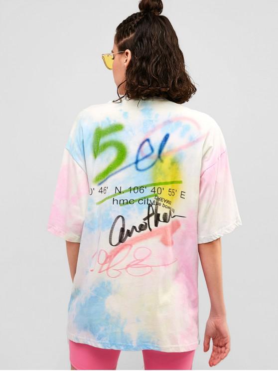 buy Graphic Tie Dye Boyfriend Casual Tunic Tee - MULTI XL