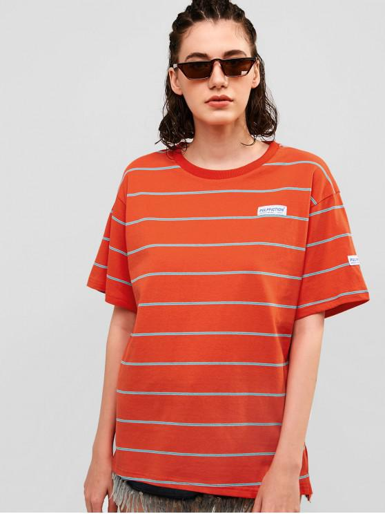 women Striped Boyfriend Cotton Tunic Tee - CHESTNUT RED M