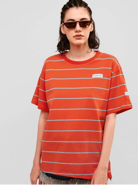 women's Striped Boyfriend Cotton Tunic Tee - CHESTNUT RED L