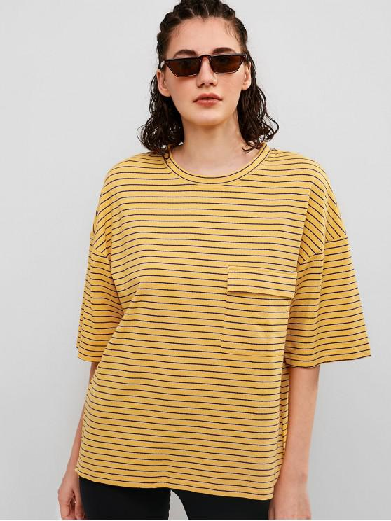 ladies Striped Chest Pocket Boyfriend Slit Tunic Tee - BEE YELLOW S