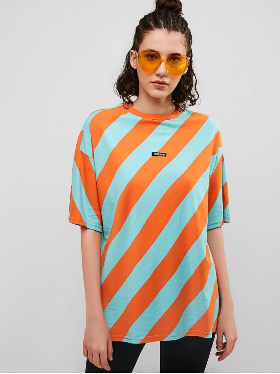 latest Striped Drop Shoulder Boyfriend Tunic Tee - MULTI L