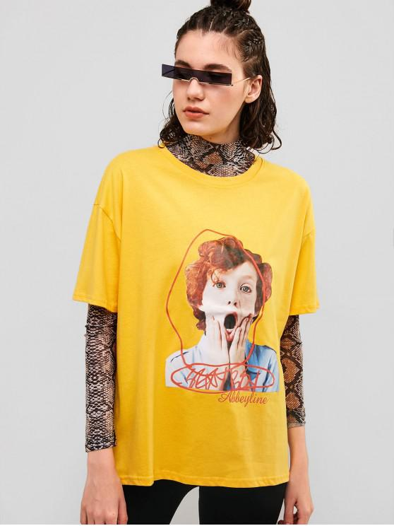 fashion Graphic Drop Shoulder Boyfriend Tunic Tee - YELLOW S