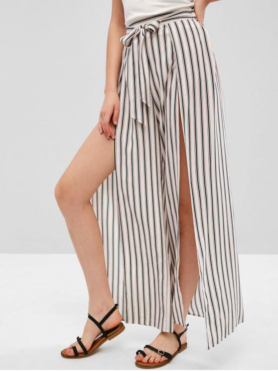 shop ZAFUL Striped Knotted Wide Leg Overlap Pants - MULTI-A L