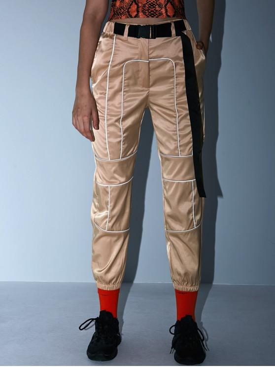 affordable Reflective Zip Fly Buckle Jogger Pants - LIGHT KHAKI L