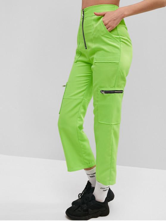 lady High Rise Neon Zip Pocket Pants - PISTACHIO GREEN L