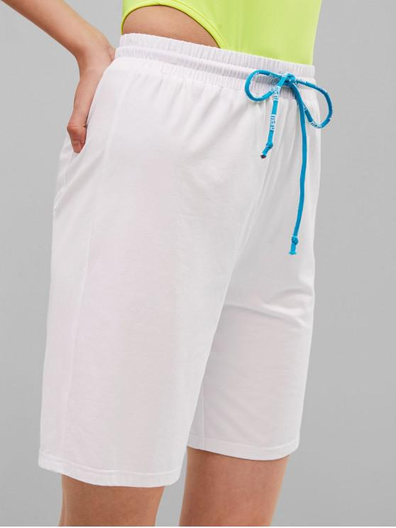 sale ZAFUL Hip Pocket Drawstring Sports Shorts - WHITE L