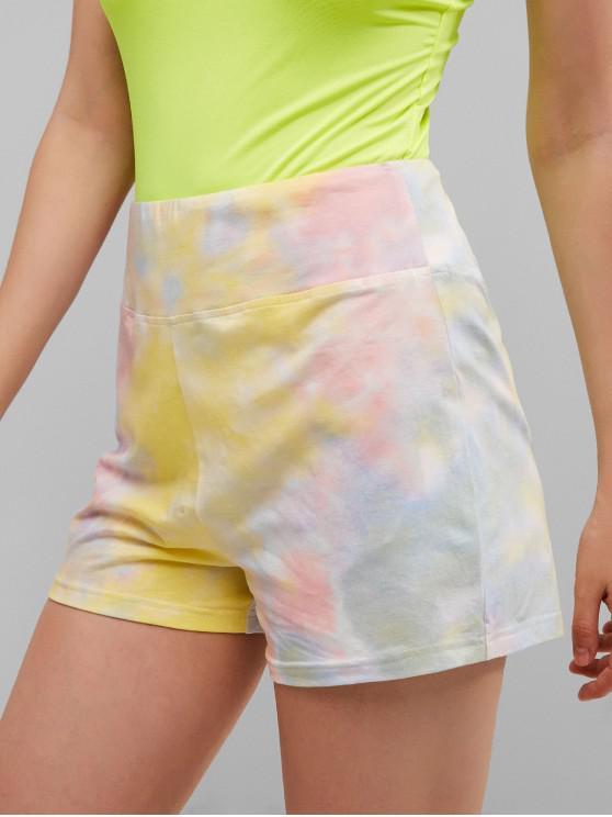 women ZAFUL High Waist Tie Dye Shorts - MULTI S