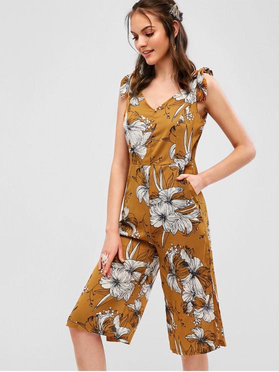 hot Tied Straps Floral Slit Wide Leg Jumpsuit - ORANGE GOLD L