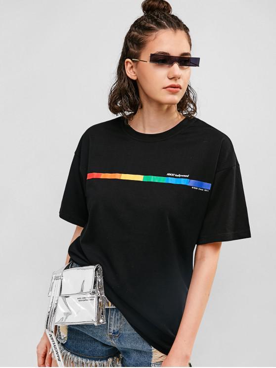 affordable Graphic Drop Shoulder Tunic Boyfriend Tee - BLACK S