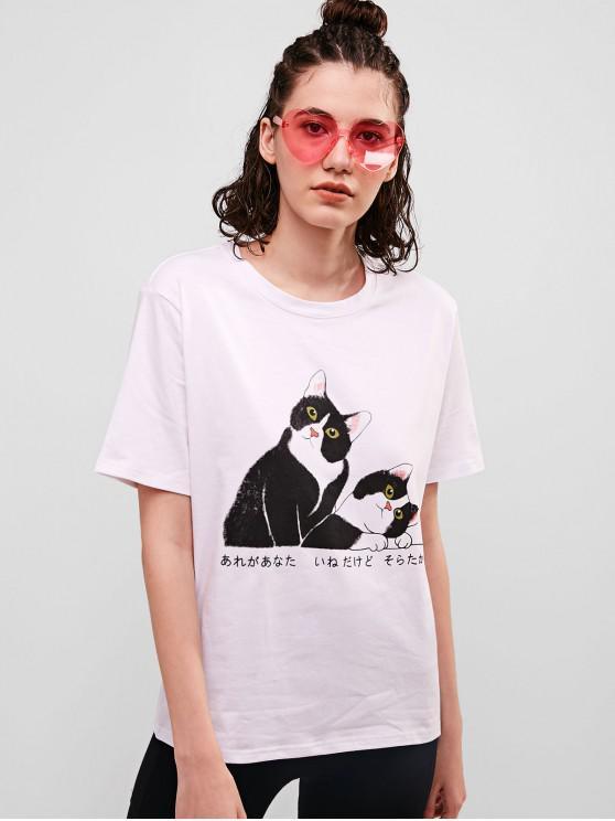 Tee-shirt à manches courtes en coton graphique Cat - Blanc XL