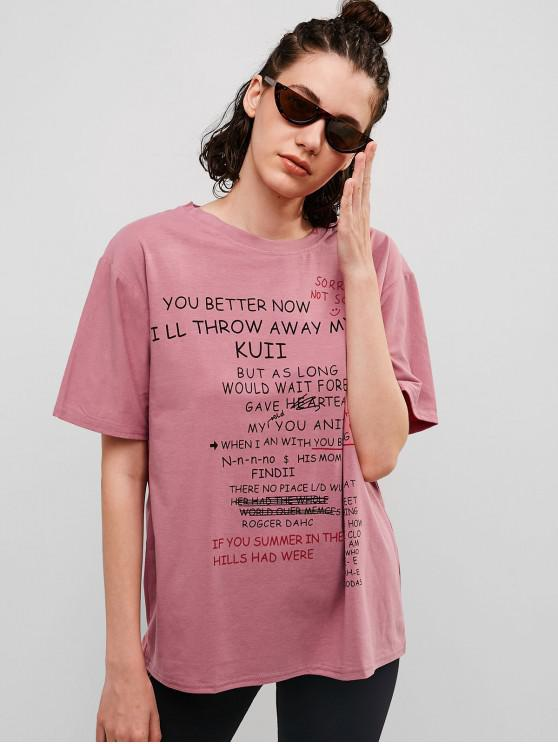 lady Casual Letter Graphic Cotton Tunic Tee - PALE VIOLET RED M