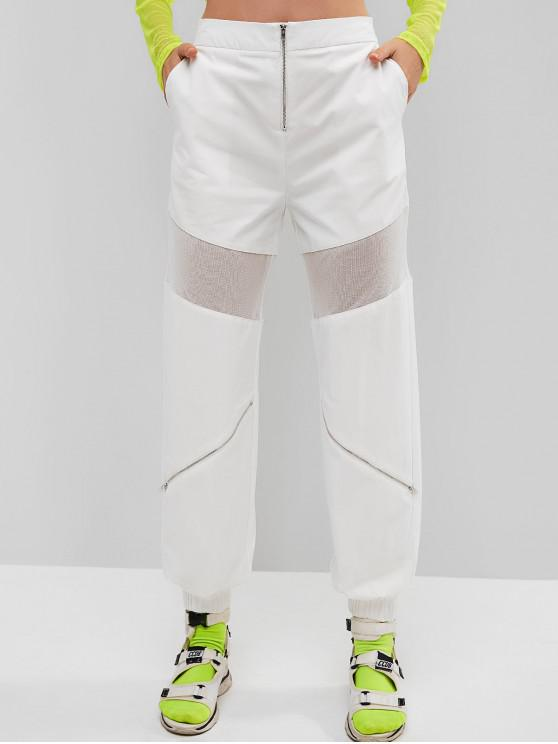hot ZAFUL Mesh Insert Zipper Jogger Pants - WHITE S