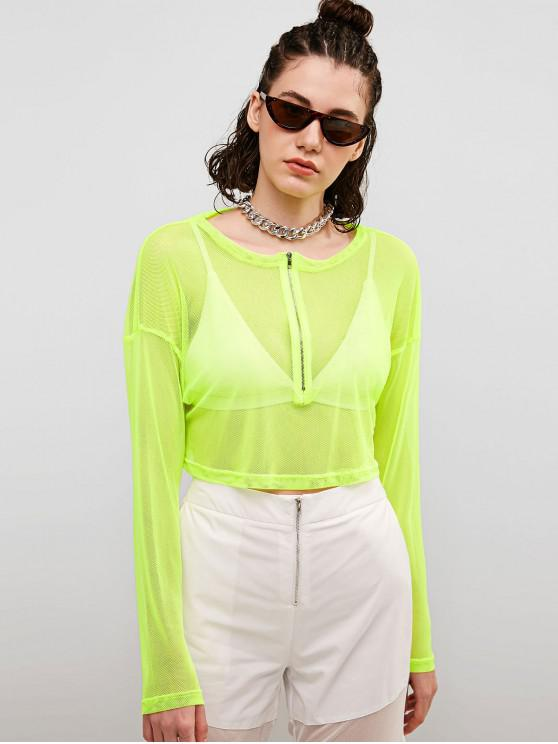 latest Neon Mesh Half Zip Sheer Tee - PISTACHIO GREEN L