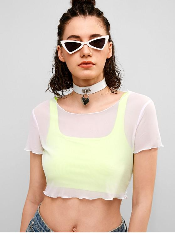 affordable ZAFUL Lettuce Trim Crop Mesh Tee - WHITE S